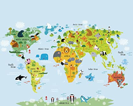 Whole Map Of The World.Ohpopsi The Whole Wide World Wall Mural