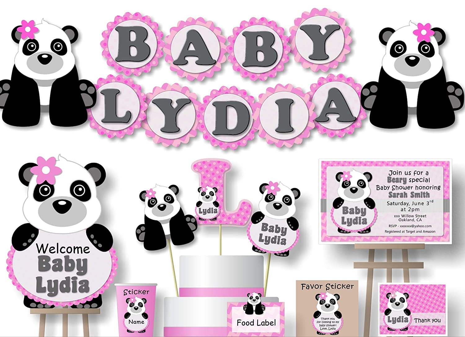 Amazon Com Personalized Panda Baby Shower Or Birthday Party Decorations For Girl Banner With Optional Cake Topper Centerpiece Welcome Sign Favor Tags Or Stickers Thank Yous Handmade In Usa Bcpcustom Handmade