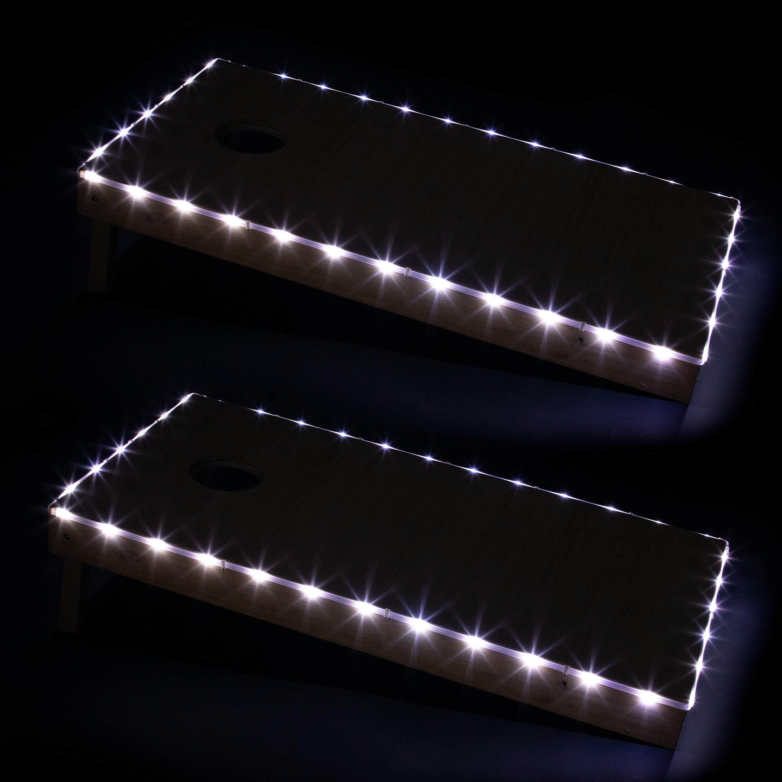 Play Platoon LED Cornhole Board Lights Set of 2, White - Corn Hole Edge Lighting Kit for Lighted Outdoor Night Games - Bright, Long Lasting, Easy to Install by Play Platoon