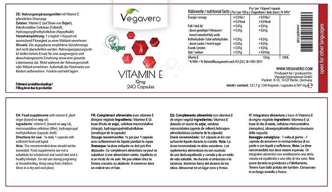 Vegavero vitamina E tocoferol | ideal dosis diaria | defensa para la piel protege las paredes celulares | 240 cápsulas | vegetariano: Amazon.es: Salud y ...