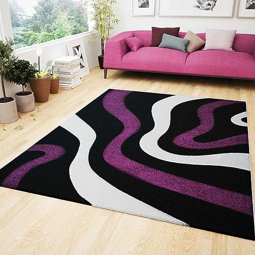 Wohnzimmer Teppich Lila Schwarz Weiss Wellen Muster Frisee Flauschig