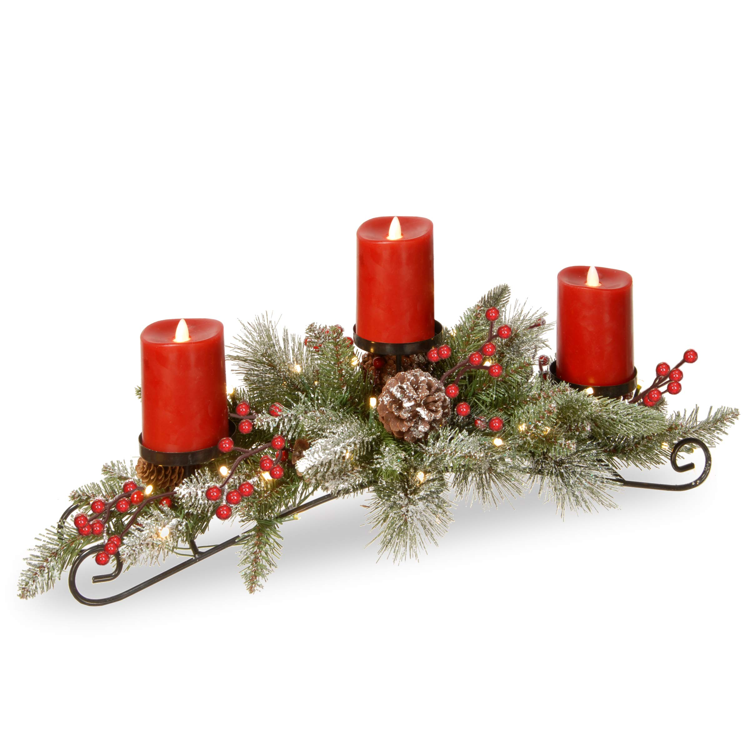 National Tree Feel Real Snowy Bristle Centerpiece with 3 Electronic Candles, Battery Operated Lights, Berries and Cones, 30'', Green