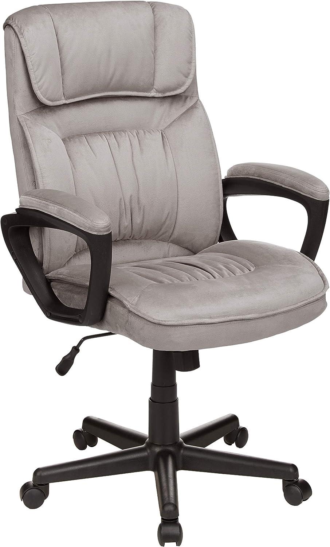 AmazonBasics Classic Office Desk Computer Chair - Adjustable, Swiveling, Ultra-Soft Microfiber - Light Gray, Lumbar Support