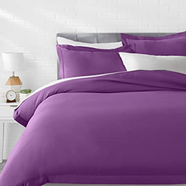 AmazonBasics Microfiber Duvet Cover Set - King, Plum
