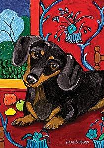 Toland Home Garden Muttisse Dachshund 12.5 x 18 Inch Decorative Puppy Dog Portrait Painting Design Garden Flag - 112627