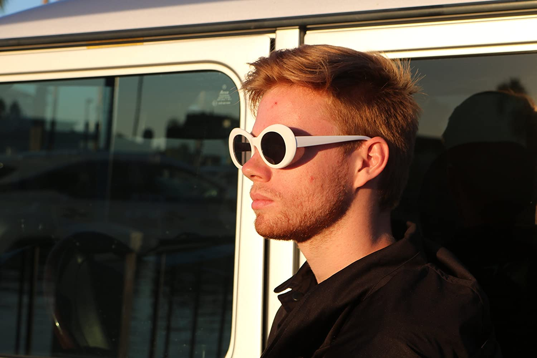9d4522851d61d Clout Goggles and Clout Case HypeBeast Oval Sunglasses Mod Style Kurt  Cobain (White)  Amazon.com.au  Fashion