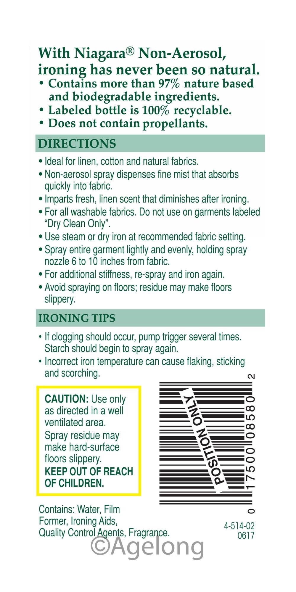 Niagara Spray Starch (22 Oz, 12 Pack) Trigger Pump Liquid Starch for Ironing, Non-Aerosol Spray on Starch, Reduces Ironing Time, No Flaking, Sticking or Clogging, Biodegradable Ingredients, Recyclable