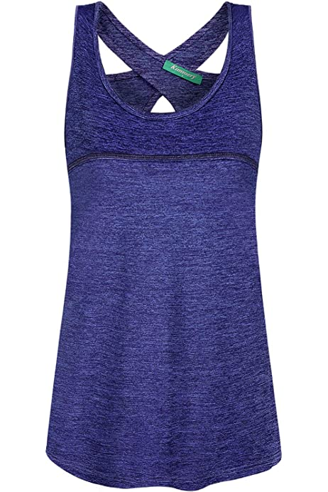 Kimmery Women Workout Racerback Quick-Dry Training Tank Tops with Pocket