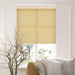 "CHICOLOGY Cordless Roller Shades Snap-N'-Glide Privacy & Natural Woven Perfect for Living Room/Bedroom/Nursery/Office and More. and More, 27"" W X 72"" H, Felton Cream"