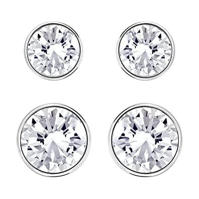 Swarovski Harley Pierced Earring Set, White, Rhodium plating