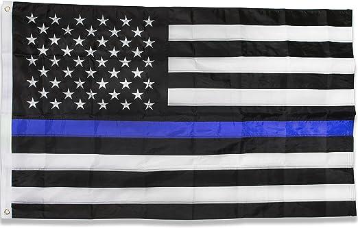 Broad Stripes Bright Stars Premium Bordado Nylon 3 x 5 pies Delgada línea Azul Bandera para y la aplicación de la Ley de policía, Color Negro, Azul y Blanco: Amazon.es: Jardín