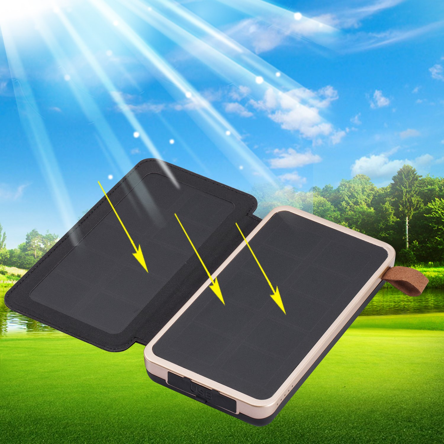 Aimshine PowerCore 24000mAh Solar Charger with Dual USB Ports, Upgraded Pairs of Solar Panels Power Bank for iPhone,SAMSUNG,ipad and Any Rechargeable Devices, A Necessity in Earthquake or Hurricane by Aimshine (Image #6)