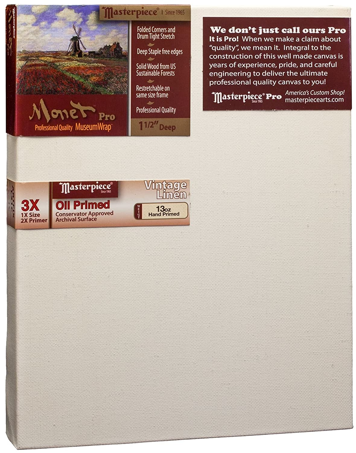Masterpiece Artist Canvas MO-0407 Monet Pro 1-1/2' Deep, 4' x 7', Linen 13.0oz - 3X - Vintage Oil Primed