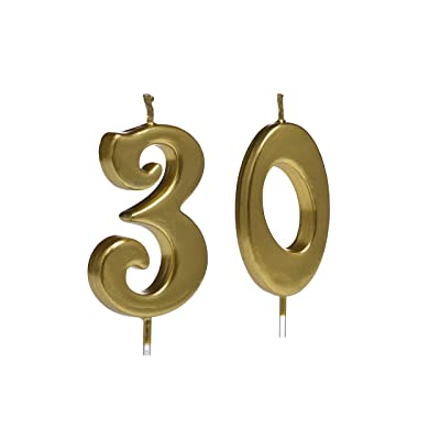 Gold 30th Birthday Candles,Number 30 Cake Topper for Party Decoration: Home & Kitchen