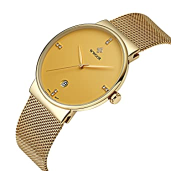 WWOOR Mens Ultra Thin Mesh Band Stainless Steel Watches Male Elite Sports Date Wrist Watch Gold
