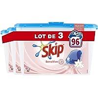 Skip Lessive Capsules Sensitive Peaux Sensibles & Bébés 96 Lavages (Lot de 3x32 Lavages)
