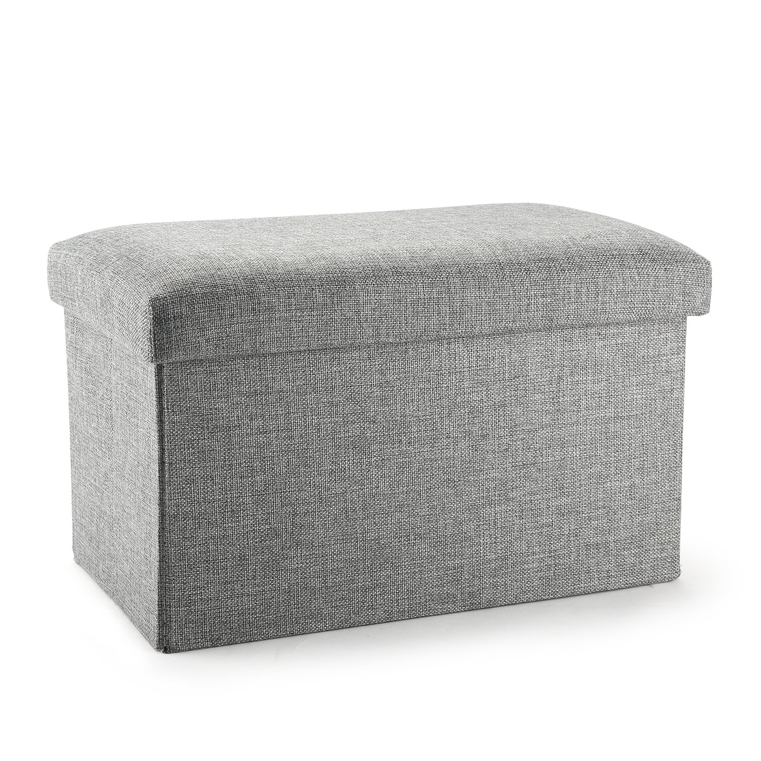 (Grey) - Ottoman Cube with Storage, Mee'life Linen Fabric Folding Organiser Storage Ottoman Basket Bins Boxes Containers with Lids for Office Home Foot Rest Stool/Seat 38cm (Grey) B07429K3VC Parent