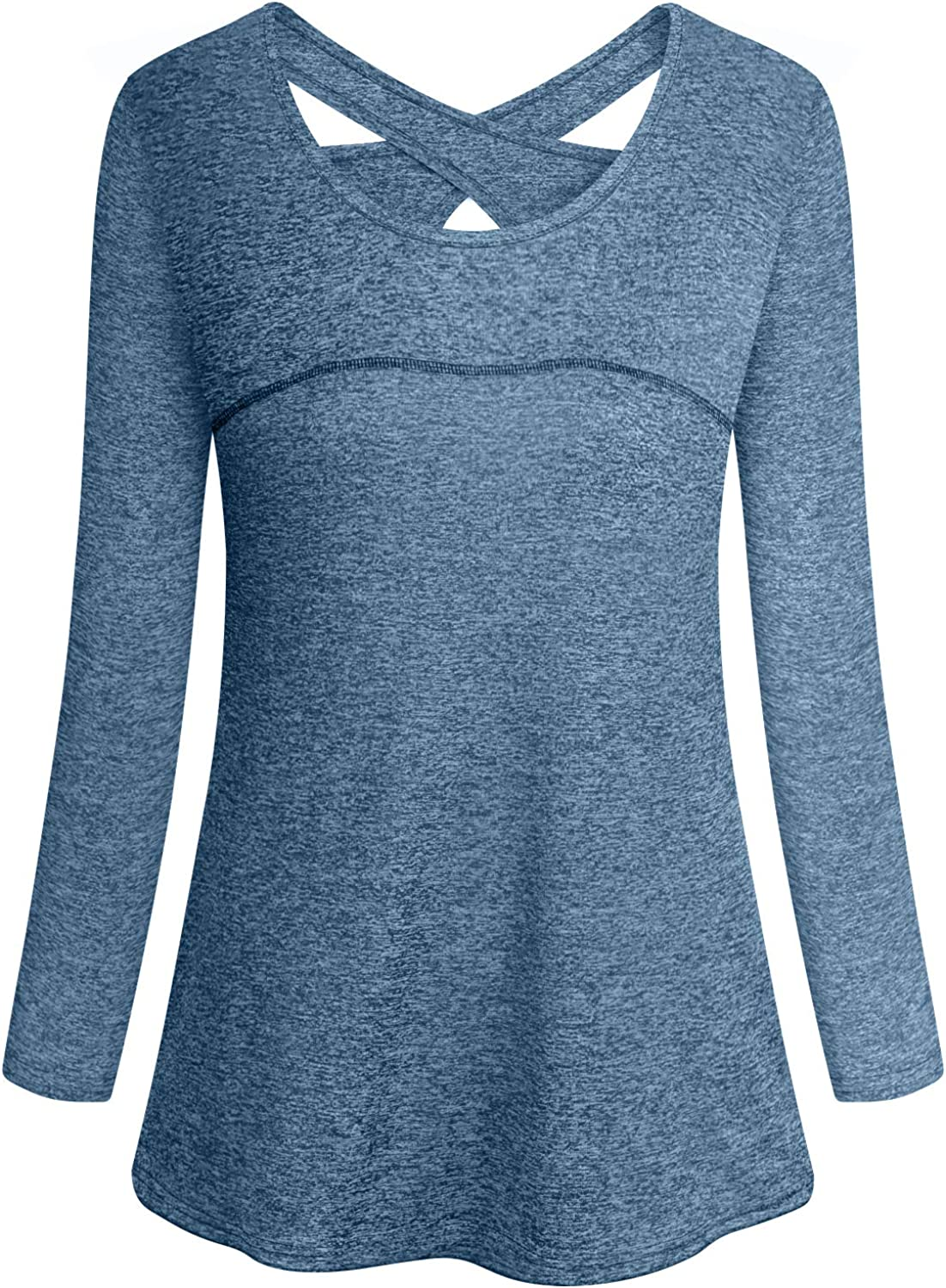 Cucuchy Womens Yoga Tops Casual Flowy Long Sleeve Criss Cross Back Workout Shirts: Clothing