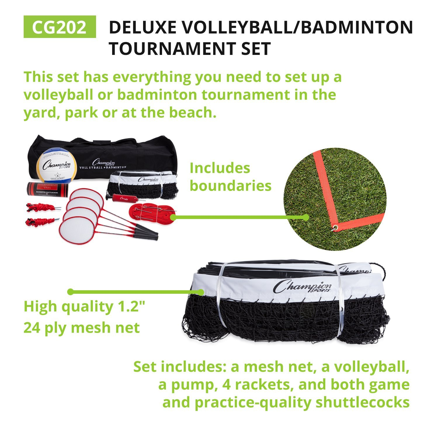 Champion Sports Volleyball & Badminton Set: Net, Poles, Ball, Rackets & Shuttlecocks - Portable Equipment for Outdoor, Lawn, Beach & Tournament Games by Champion Sports (Image #2)