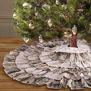 yuboo Brown Ruffle Christmas Tree Skirt, 48 inches Burlap 6-Layer Rustic Xmas Tree Holiday Decorations