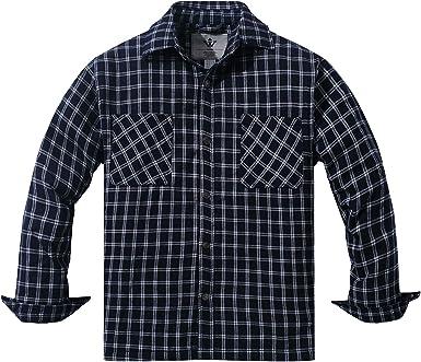 WenVen Camisa Acolchados a Cuadros de Franela con Capucha: Amazon.es: Ropa y accesorios