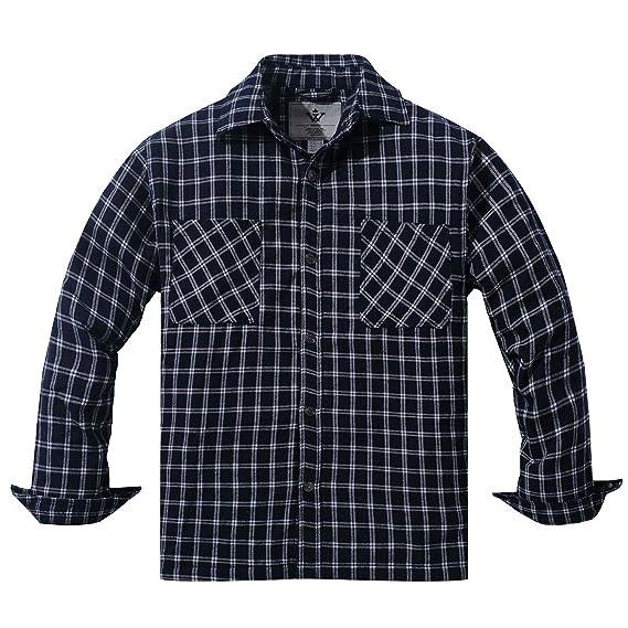 WenVen Camisa Acolchados a Cuadros de Franela con Capucha