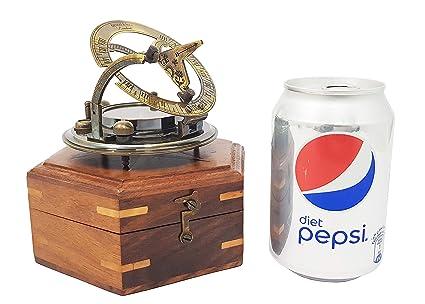 Antiguo incluida réplica 3in en caja de madera - de latón macizo Reloj de bolsillo -