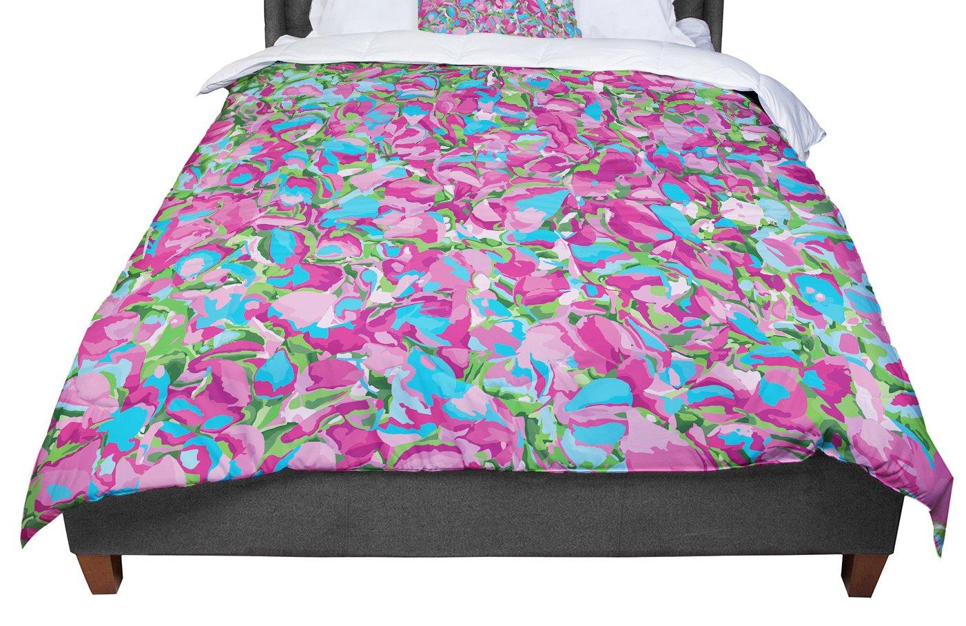 KESS InHouse Empire Ruhl Abstract Spring Petals Pink Blue King Cal King Comforter 104 X 88