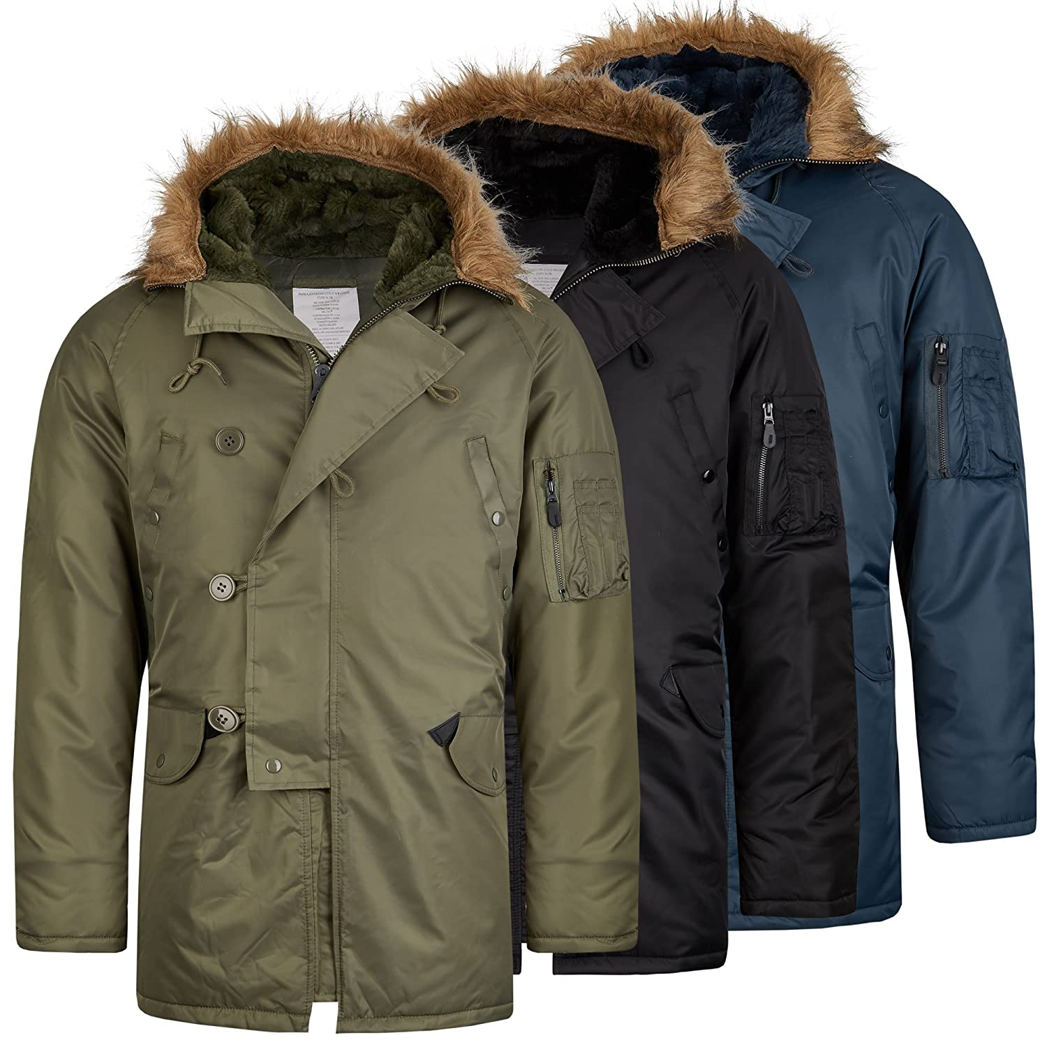 Teesar Flieger Winter Flieger Parka Fliegerjacke Bomber Parka im Bundle mit UD Thinsulate Beanie