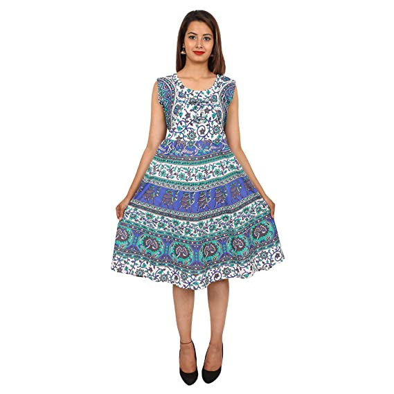 b71857f22df Jaipuri Fashionista Women s Cotton Printed with Attached Jacket(169-JFSF-UM-BLU Blue Free  Size)  Amazon.in  Clothing   Accessories