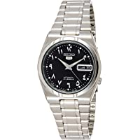 Seiko Men's Black Dial Stainless Steel Band Watch - Snk063J5, Silver Band, Analog Display