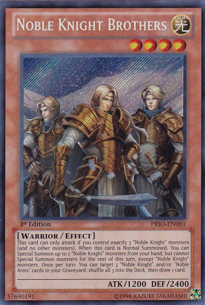 YuGiOh Noble Knight Brothers PRIO-EN081 Secret Rare 1st Ed by Yu-Gi-Oh!