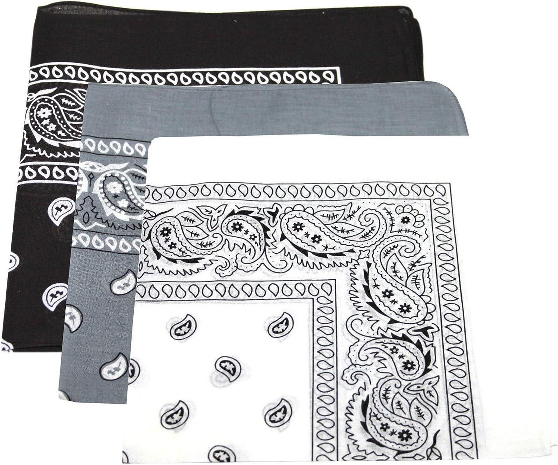 3 x Pack Paisley bandana sciarpa fascia nero//grigio//bianco bandana
