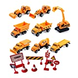 8 pcs Mini alloy car Bulldozers Backhoe car Excavator forklift truck alloy model for Children's educational toys