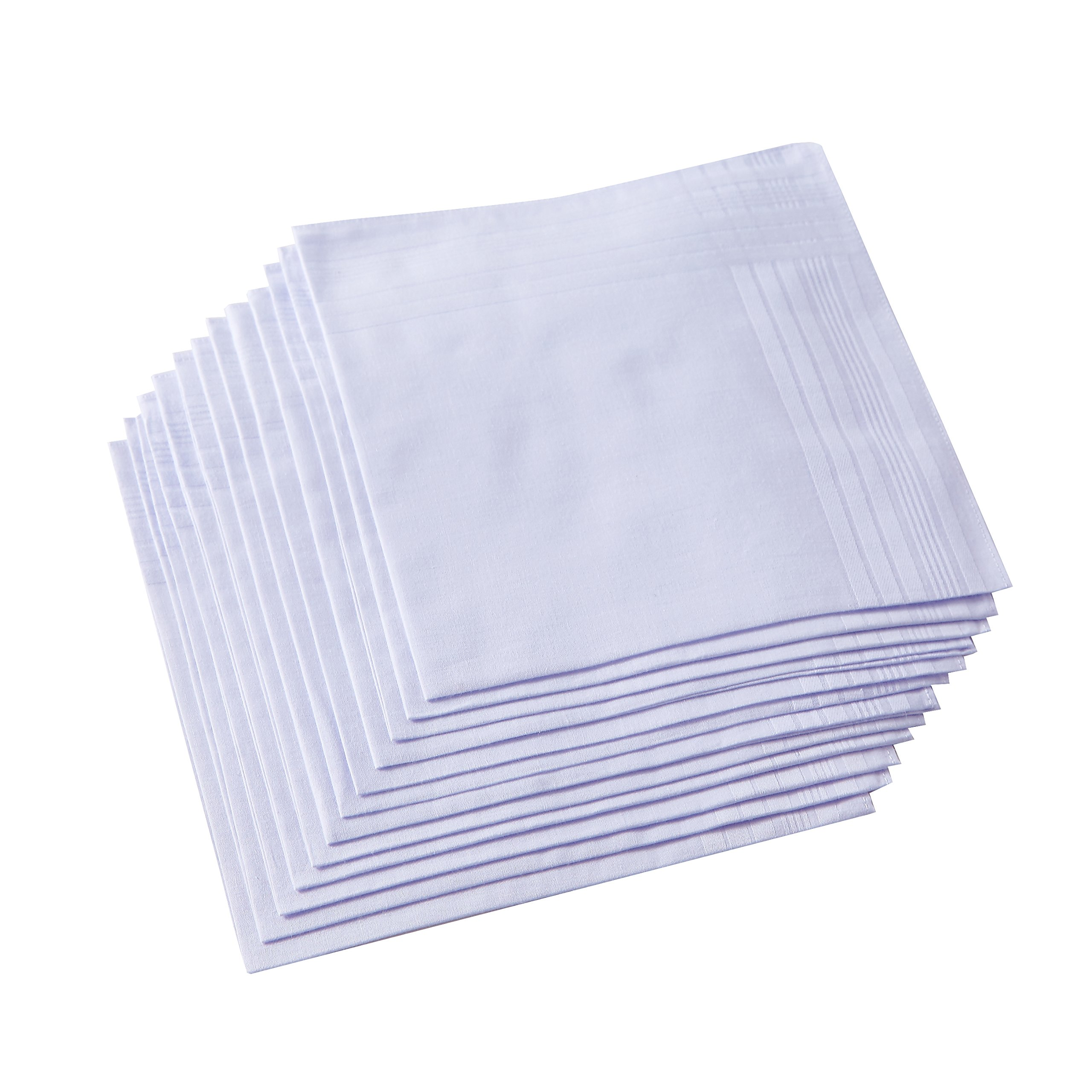 Men's Pure White 100% Cotton Handkerchief Pack Of 12