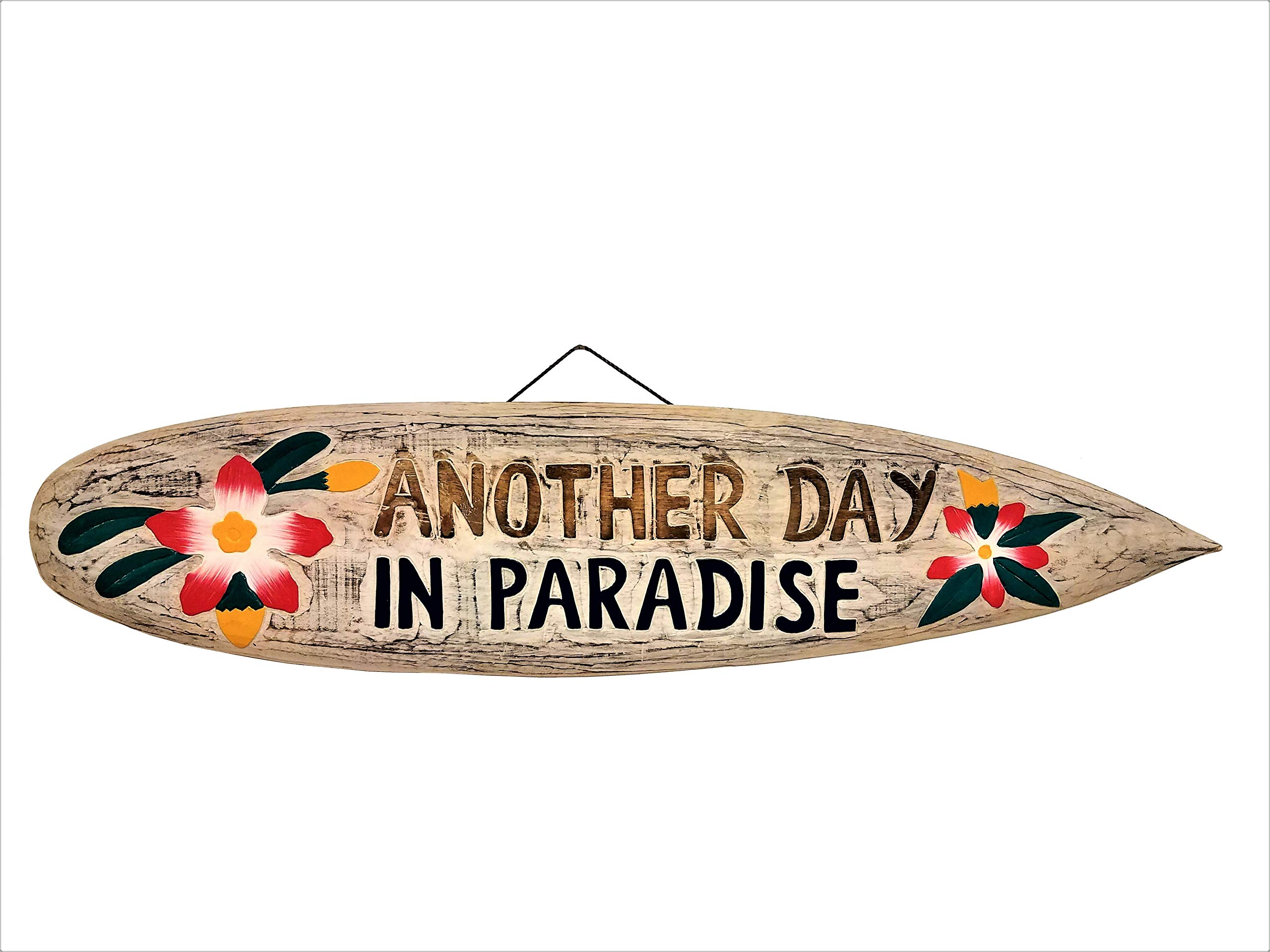 All Seas Imports 39'' Handcarved and Painted Distressed Style Wood Another Day in Paradise with Flowers Surfboard