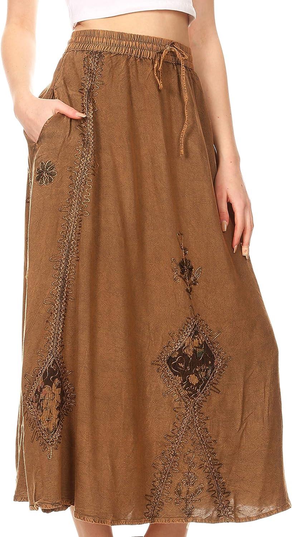Sakkas Zarah Womens Boho Embroidery Gypsy Skirt with Lace Elastic Waist Pockets