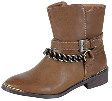 503d1782e2934a trendBOUTIQUE Waldhay - stylische Cowboy Stiefeletten Damen Boots mit  goldener Zierde Leder Look Herbst Winter Schuhe