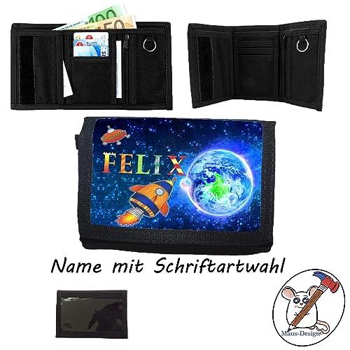 exquisite handwerkskunst Bestpreis am besten billig Kinder Geldbörse mit Name/Raketen Geldbeutel/Klettverschluss ...
