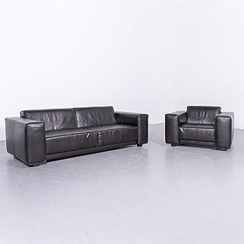 Amazon De Machalke Navaronne Leder Sofa Garnitur Schwarz Dreisitzer