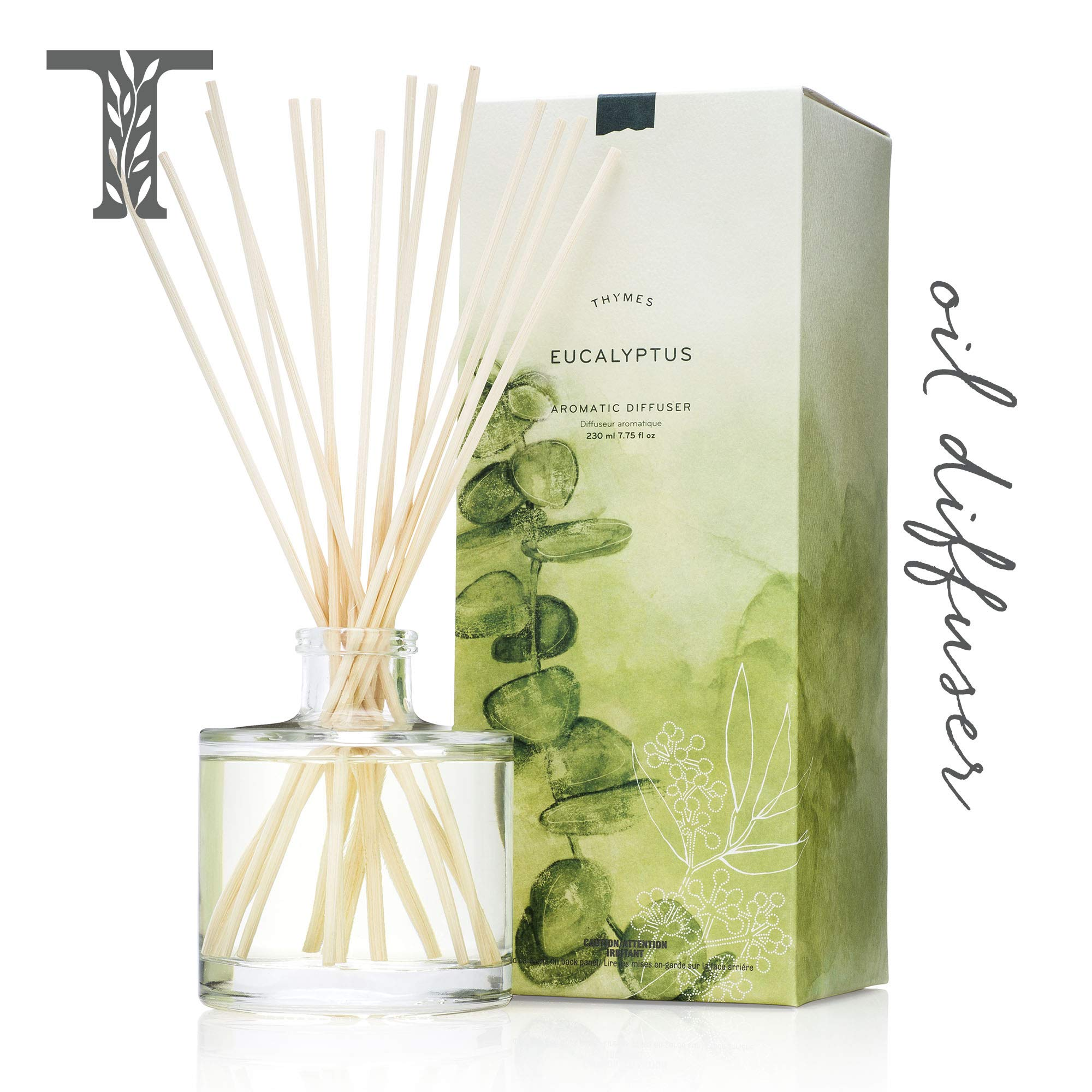 Thymes - Eucalyptus Aromatic Oil Reed Diffuser - Gift Set with Premium Sticks, Glass Bottle and Scented Oil - 6.5 oz by Thymes