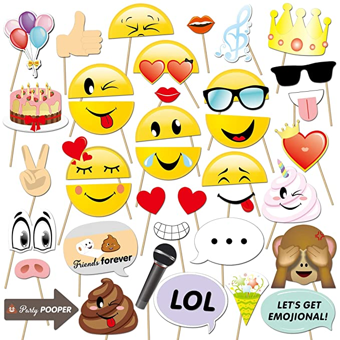 Konsait Emoji Photo Booth Props (38pcs), cumpleaños Cabina de Fotos Accesorios photocall DIY Photo Booth Atrezzo Favorecer para Infantil y Adultos ...