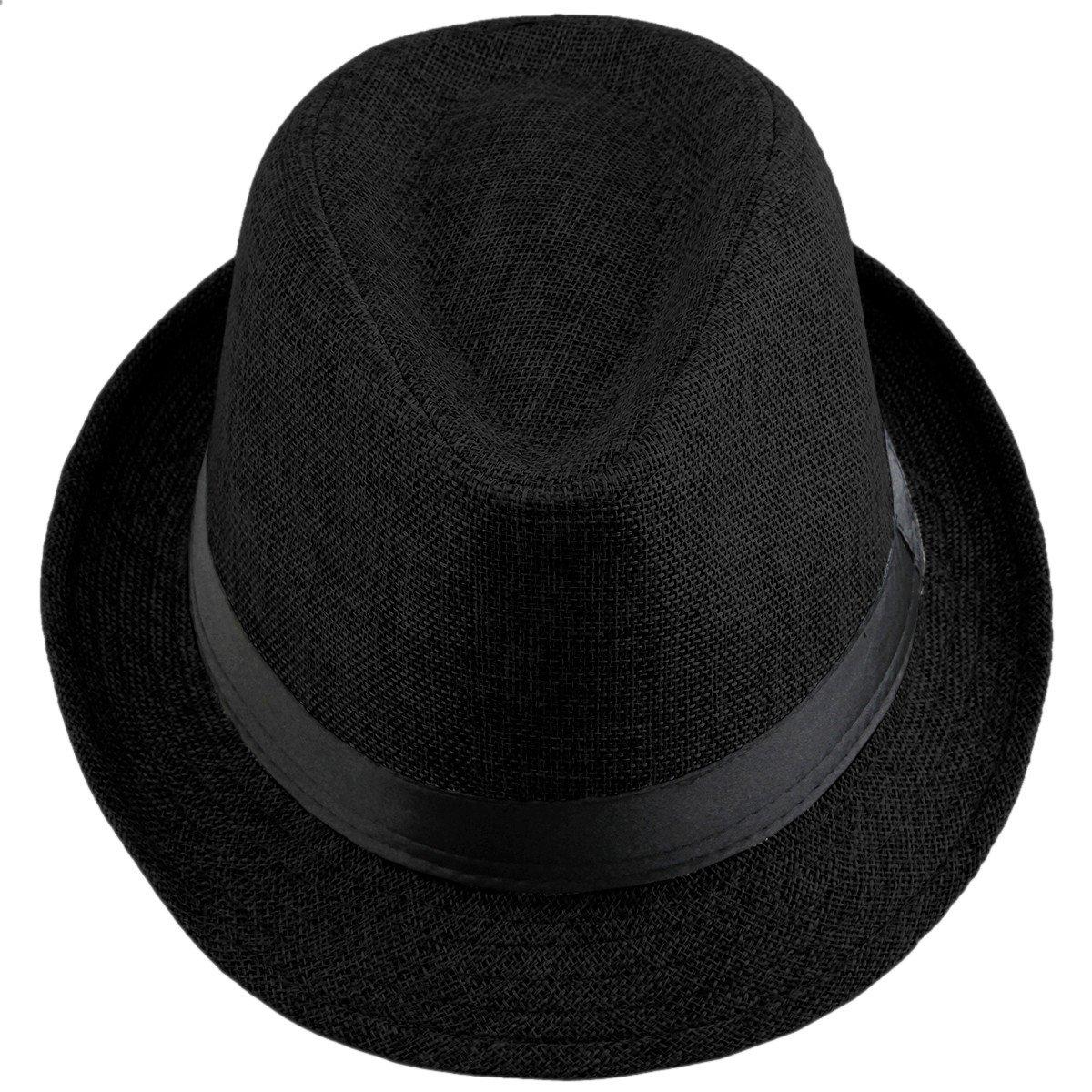 Shanxing Unisexe Chapeau Fedora Trilby Panama Et/é Plage Casquette pour Homme Femme