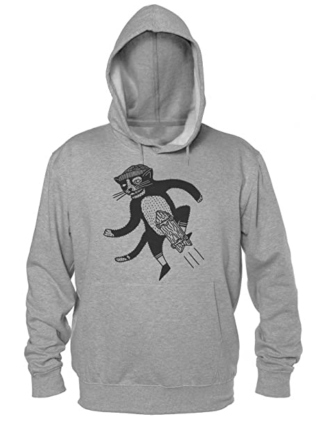 Urban Style Cat Skater Boy With A Skateboard Sudadera con Capucha para Hombre Mens Hooded Sweatshirt