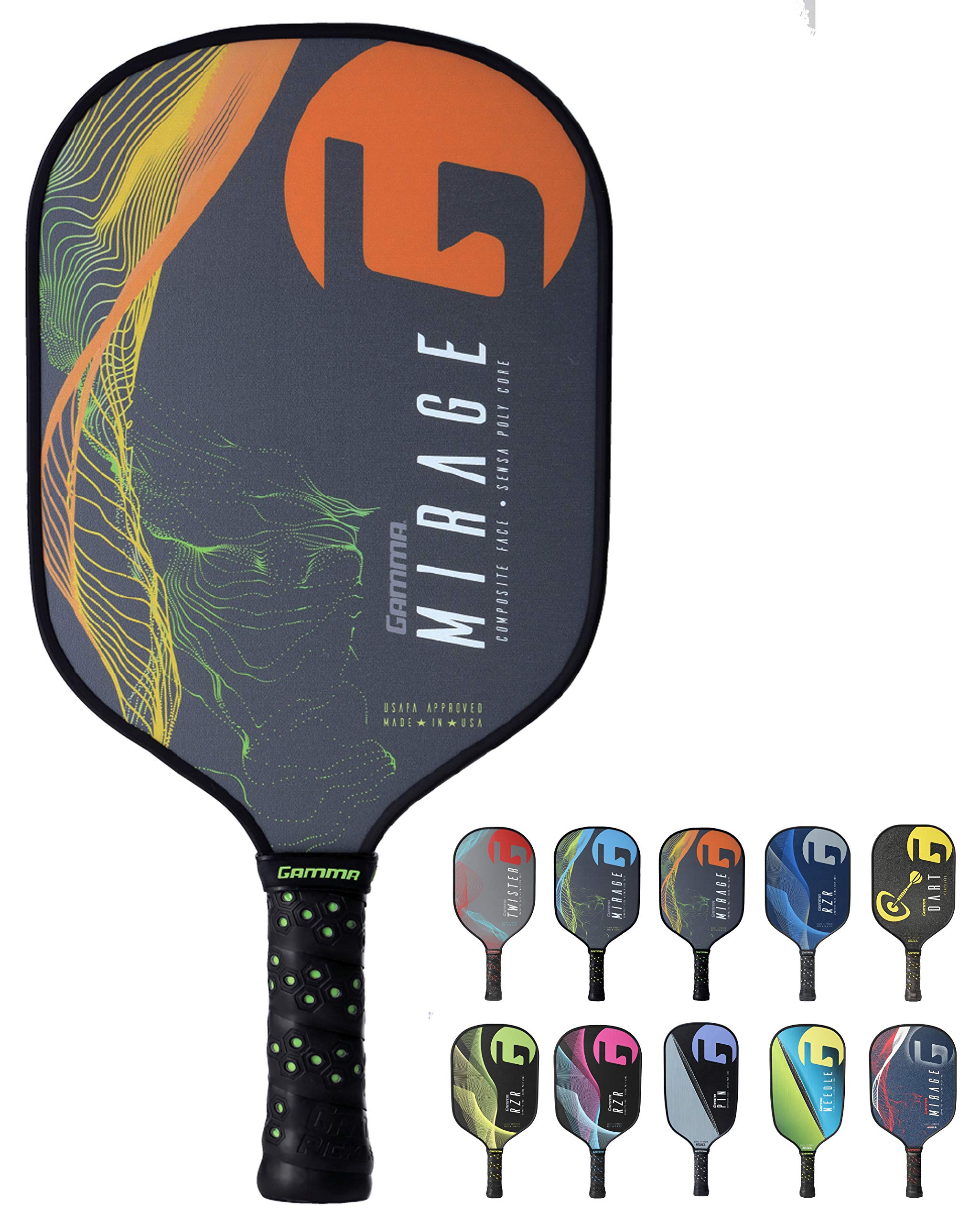Gamma Mirage Composite Pickleball Paddle: Pickle Ball Paddles for Indoor & Outdoor Play - USAPA Approved Racquet for Adults & Kids - Orange/Green by Gamma (Image #1)