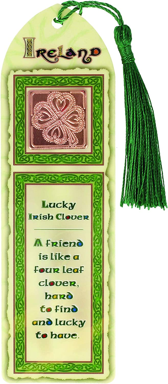 Laminated Clover Bookmark with Tassel Irish Shamrock Paper Stopper for Books Ireland Gift Souvenir Celtic Collection 16.5 cm L x 5 cm W