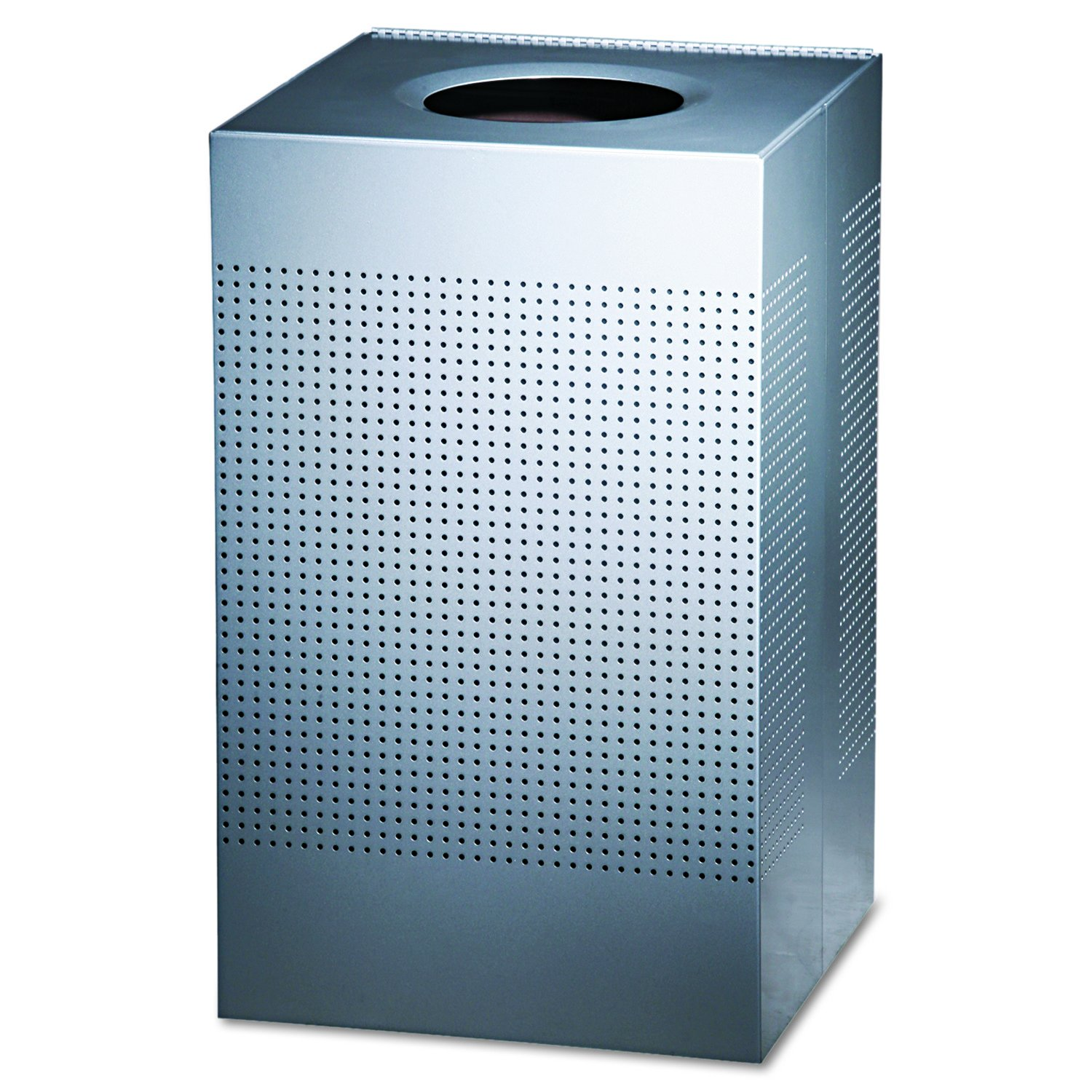 CDM product Rubbermaid Commercial SC18EPLSM Designer Line Silhouettes Receptacle, Steel, 29gal, Silver Metallic big image