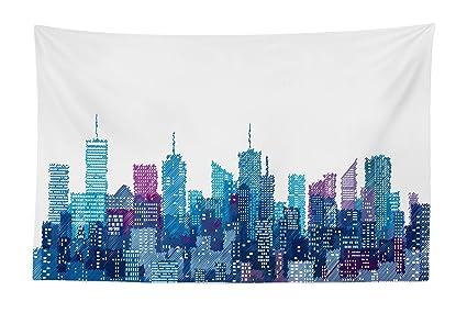 Amazon Com Lunarable New York Tapestry Skyline Of Nyc Manhattan
