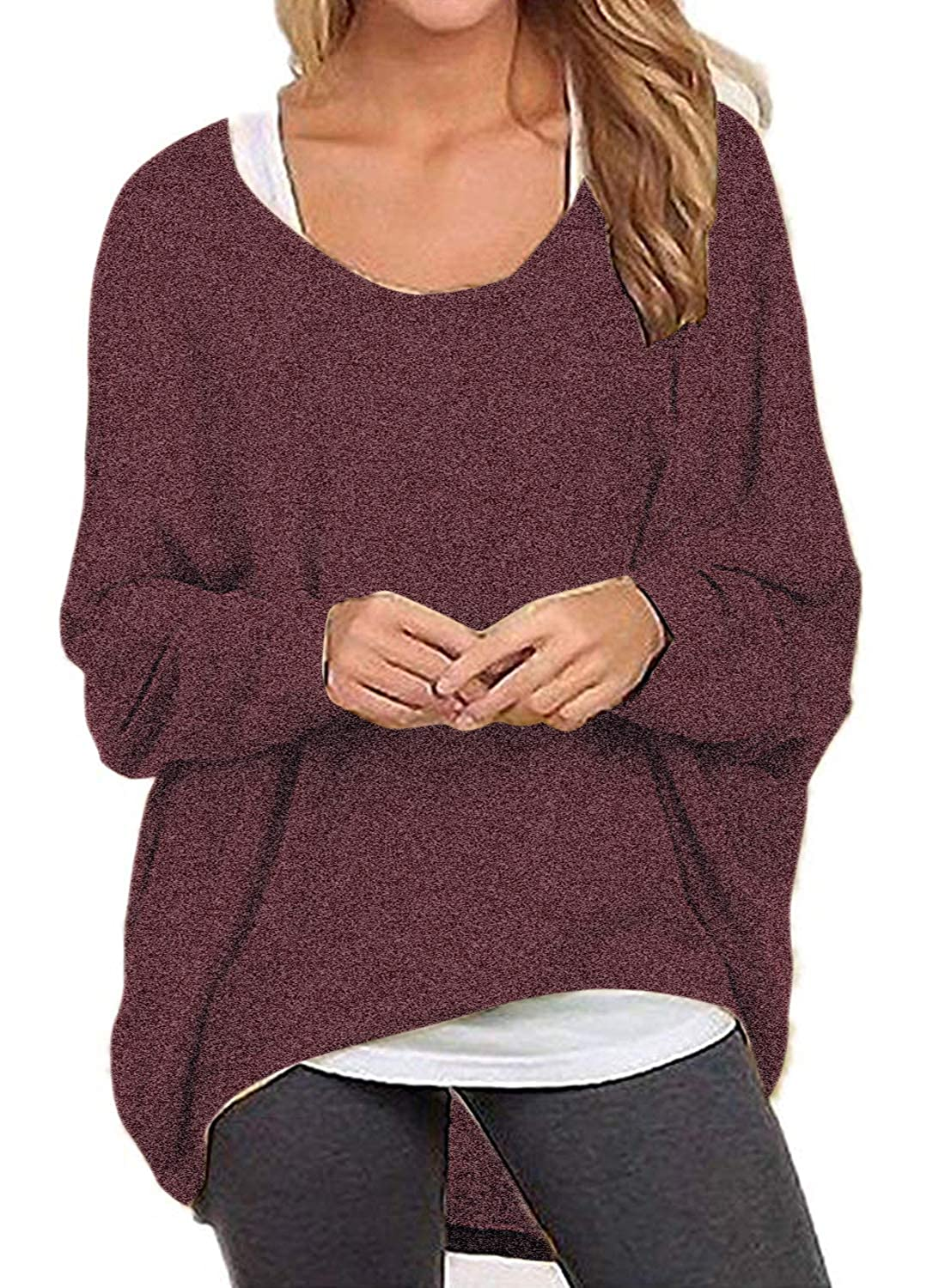 03wine Red I2crazy Women's Long Sleeve Casual Loose Stylish Comfortable TShirt Dress
