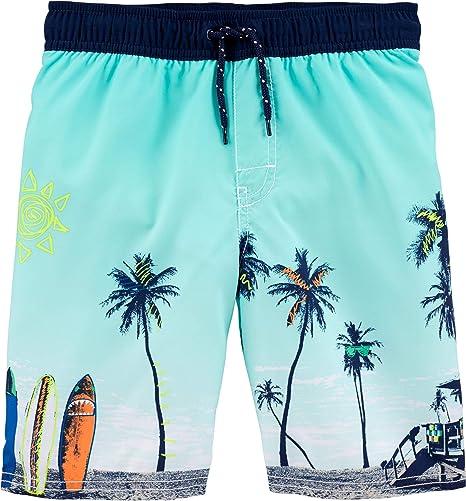 Oshkosh B/'gosh Infant Boys 3-6M Blue Green Shark Swim Trunks Shorts Lined